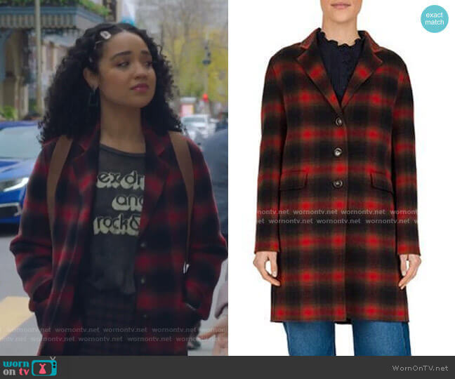Penelope Plaid Wool-Blend Coat by Gerard Darel worn by Kat Edison (Aisha Dee) on The Bold Type