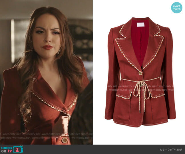 Single Breasted Blazer by Peter Pilotto worn by Fallon Carrington (Elizabeth Gillies) on Dynasty