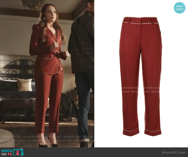 Straight-Leg Cord Detail Trousers by Peter Pilotto worn by Fallon Carrington (Elizabeth Gillies) on Dynasty