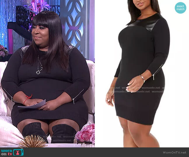 Faux-Leather-Trim Sweater Dress by MICHAEL Michael Kors worn by Loni Love  on The Real
