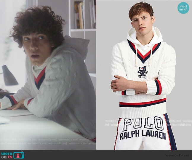 Hooded Cricket Sweater by Ralph Lauren worn by Valerio Montesinos Hendrich  (Jorge Lopez) on Elite