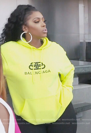 Porsha's fluro Balenciaga hoodie on The Real Housewives of Atlanta