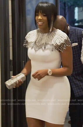 Porsha's white pearl embellished dress on The Real Housewives of Atlanta