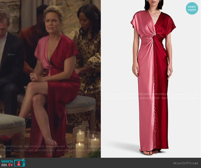 Twisted Colorblocked Silk Satin Gown by Prabal Gurung worn by Jacqueline (Melora Hardin) on The Bold Type