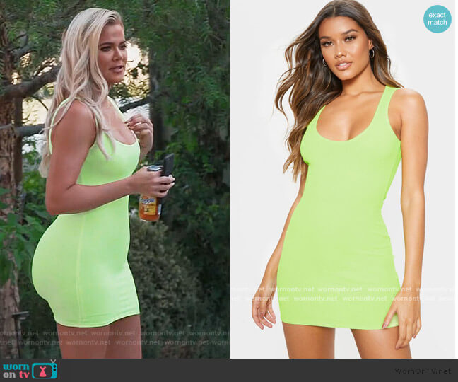 Lime Ribbed Scoop Neck Bodycon  Dress by Pretty Little Thing worn by Khloe Kardashian  on Keeping Up with the Kardashians