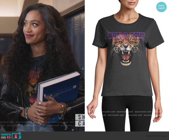 Tiger World Tour Graphic Cotton Tee by Prince Peter Collection worn by Olivia Baker (Samantha Logan) on All American