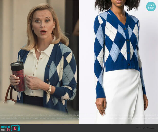 Argyle Cardigan by Pringle Of Scotland worn by Elena Richardson (Reese Witherspoon) on Little Fires Everywhere