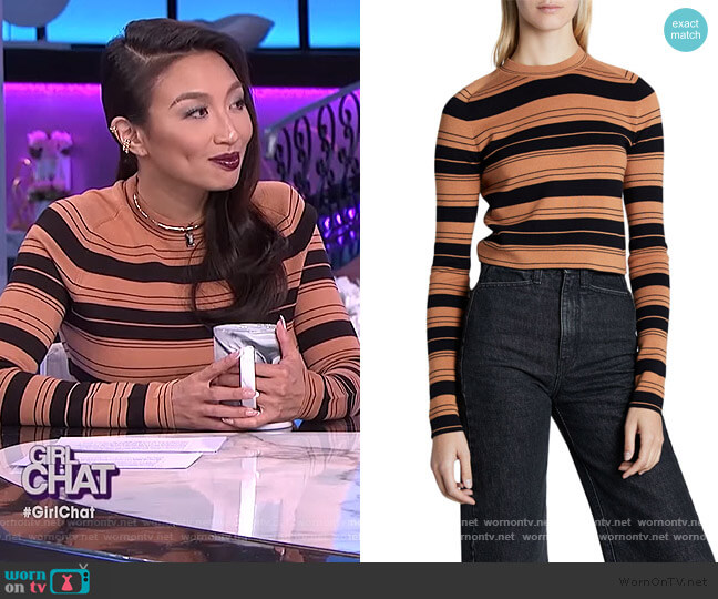 Compact Stripe Cropped Pullover by Proenza Schouler worn by Jeannie Mai  on The Real