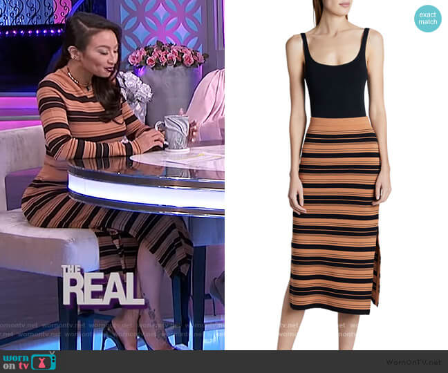 Compact Striped Midi Skirt by Proenza Schouler worn by Jeannie Mai  on The Real