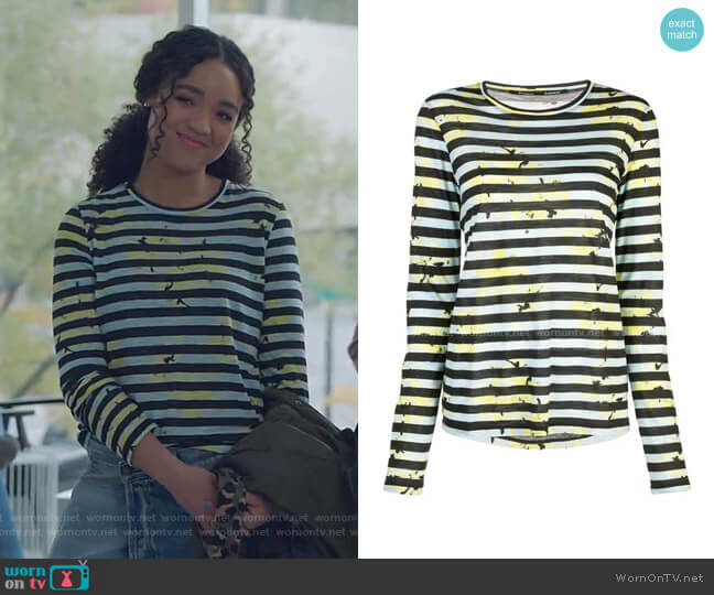 Striped Floral Splatter T-Shirt by Proenza Schouler worn by Kat Edison (Aisha Dee) on The Bold Type