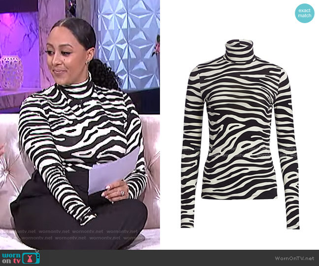 Zebra Jersey Turtleneck Top by Proenza Schouler White Label worn by Tamera Mowry  on The Real