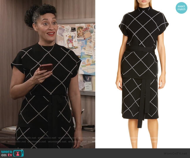 Windowpane Check Knit Mock Neck Top and Skirt by Proenza Schouler worn by Rainbow Johnson (Tracee Ellis Ross) on Blackish