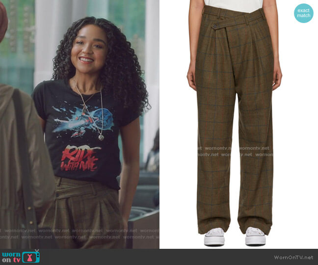 Triple Pleat Crossover Trouser by R13 worn by Kat Edison (Aisha Dee) on The Bold Type