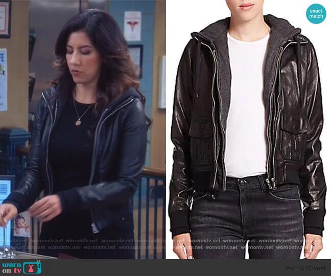 Layered Jersey-Hood Leather Bomber Jacket by R13 worn by Rosa Diaz (Stephanie Beatriz) on Brooklyn Nine-Nine