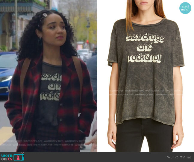 Rock & Roll Boy Tee by R13 worn by Kat Edison (Aisha Dee) on The Bold Type