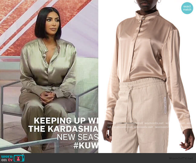 Ory Silk Shirt by Reuben Avenue worn by Kim Kardashian  on Keeping Up with the Kardashians