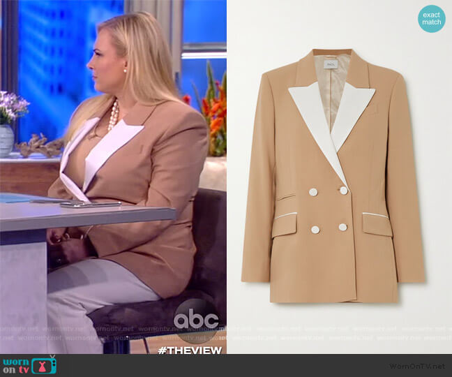 Two-tone double-breasted twill-trimmed wool-blend blazer by Racil worn by Meghan McCain  on The View