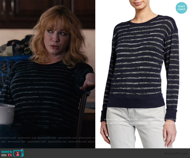 Avryl Stripe Crewneck Sweater by Rag & Bone worn by Beth Boland (Christina Hendricks) on Good Girls