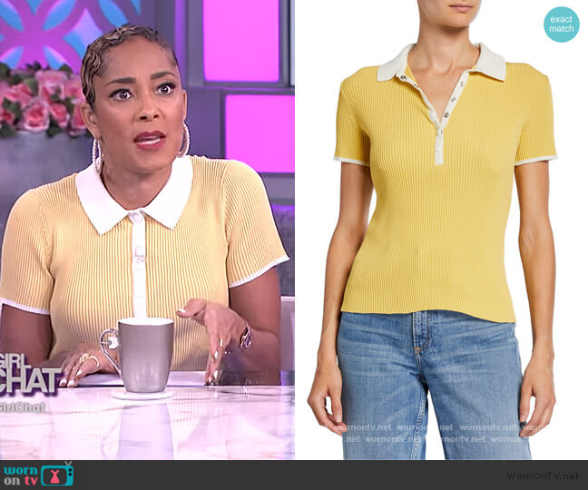 Libby Short-Sleeve Ribbed Polo Shirt by Rag & Bone worn by Amanda Seales  on The Real