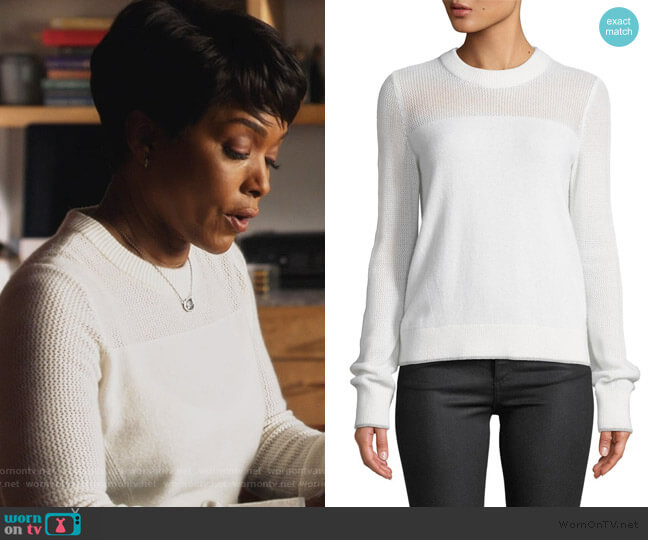 Yorke Cashmere Sweater by Rag and Bone worn by Athena Grant (Angela Bassett) on 9-1-1