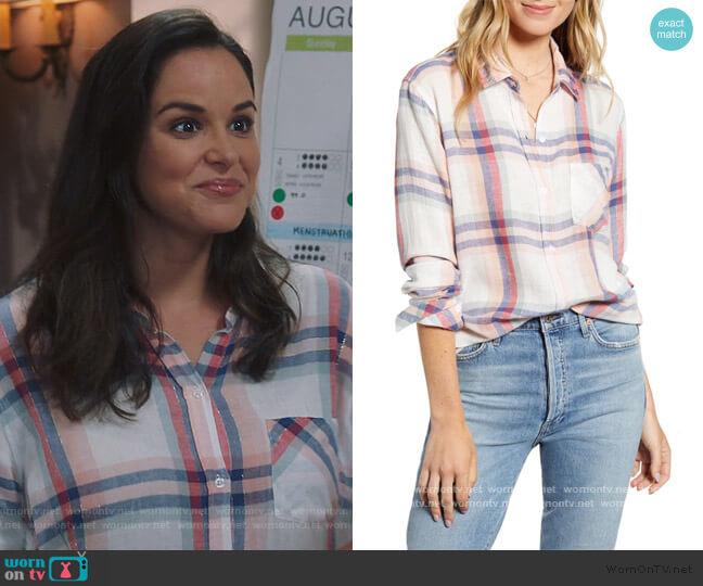 Charli Shirt by Rails in White Melon Sage worn by Amy Santiago (Melissa Fumero) on Brooklyn Nine-Nine