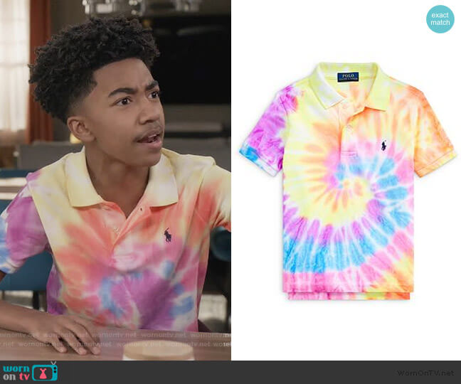 Tie-Dyed Polo Shirt by Ralph Lauren worn by Jack Johnson (Miles Brown) on Blackish
