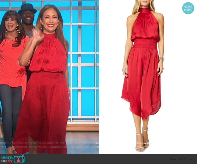 Bella Blouson Halter Dress by Ramy Brook worn by Carrie Inaba  on The Talk