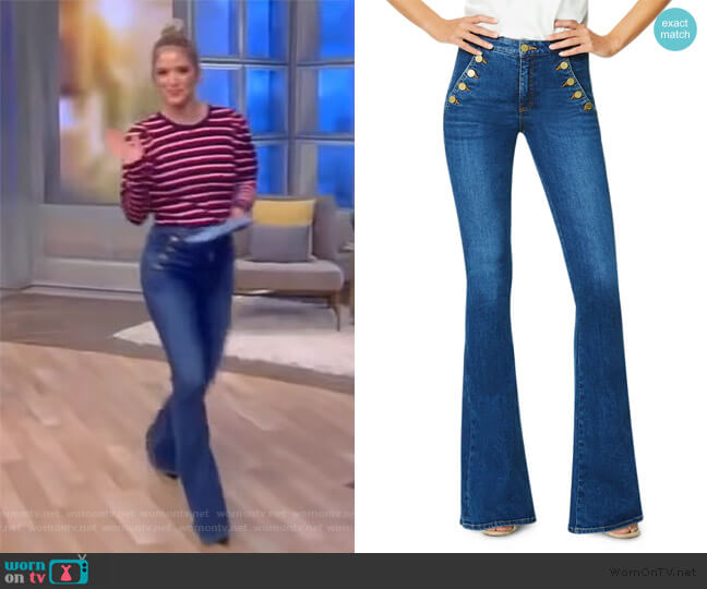 Helena Mid-Rise Flare Jeans by Ramy Brook worn by Sara Haines  on The View