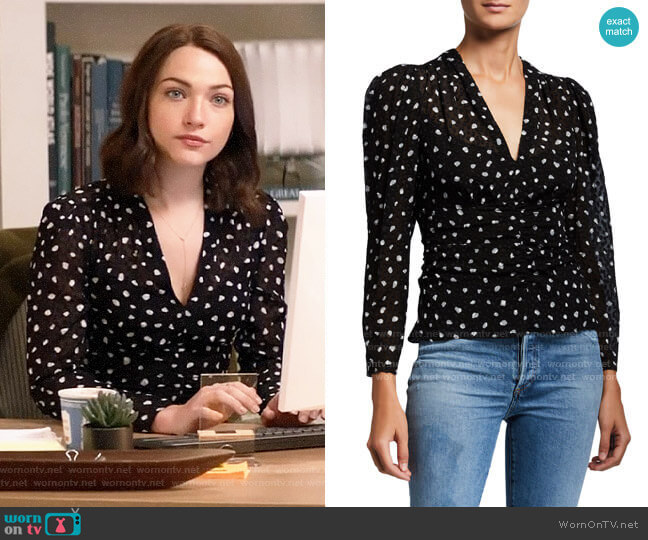 Rebecca Taylor Long-Sleeve Spotted V-Neck Top worn by Cara Bloom (Violett Beane) on God Friended Me