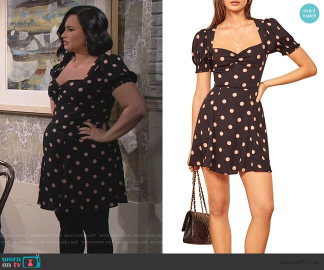 Drea Sweetheart Neckline Crepe Minidress by Reformation worn by Demi Lovato on Will and Grace