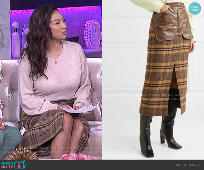 Maggie Checked Wool and Faux Leather Midi Skirt by Rejina Pyo worn by Jeannie Mai  on The Real