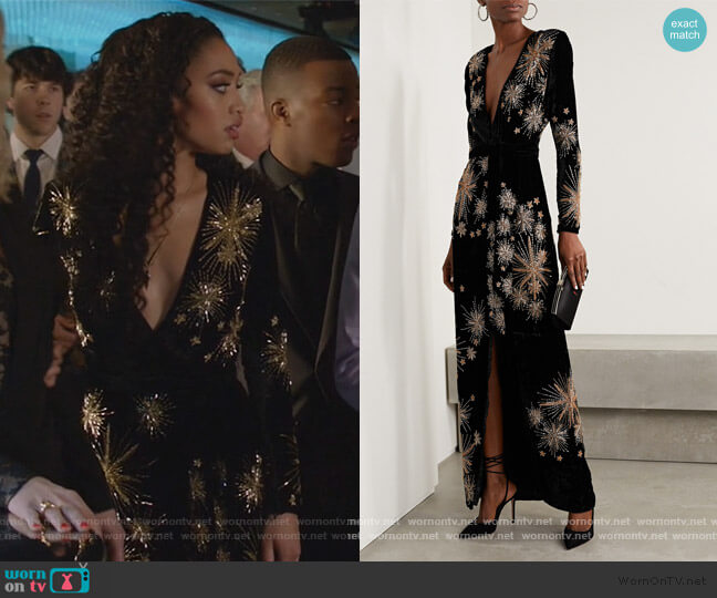 Rita Embellished Velvet Maxi Dress by Retrofete worn by Olivia Baker (Samantha Logan) on All American