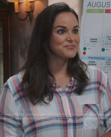 Amy's white plaid metallic blouse on Brooklyn Nine-Nine