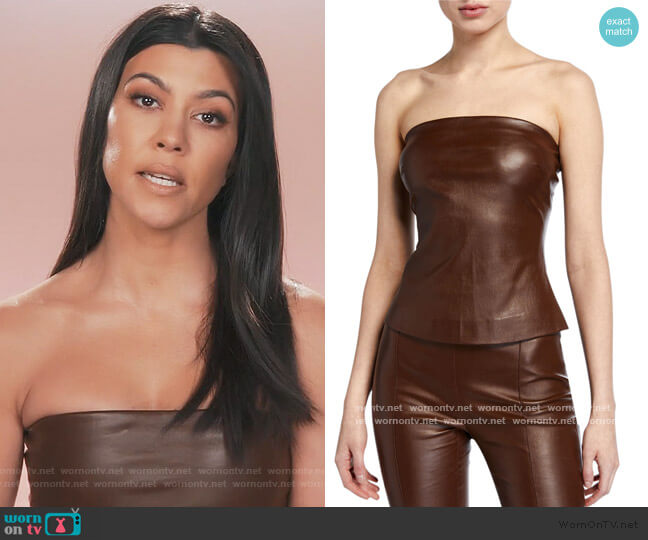 Leather Bandeau Top by Rosetta Getty worn by Kourtney Kardashian  on Keeping Up with the Kardashians