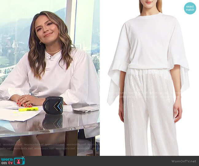 Scarf-Sleeve Cotton T-Shirt by Rosetta Getty worn by Erin Lim  on E! News
