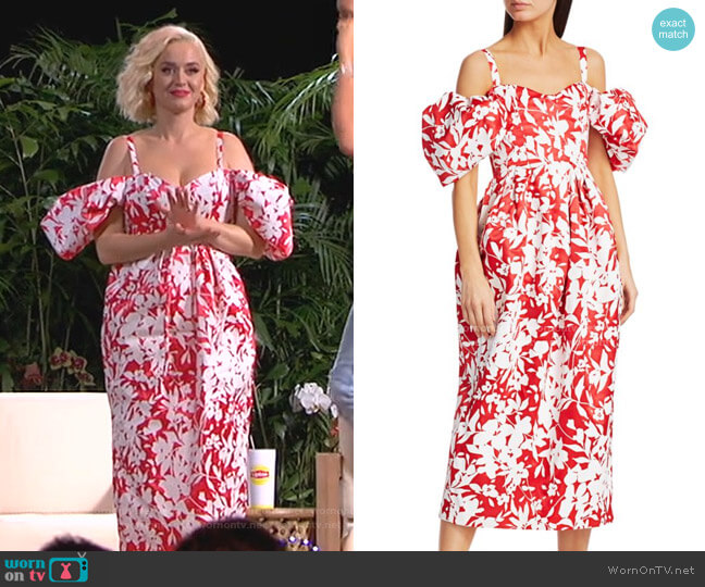 Off-The-Shoulder Puff-Sleeve Floral Silk Midi Dress by Rosie Assoulin worn by Katy Perry  on American Idol