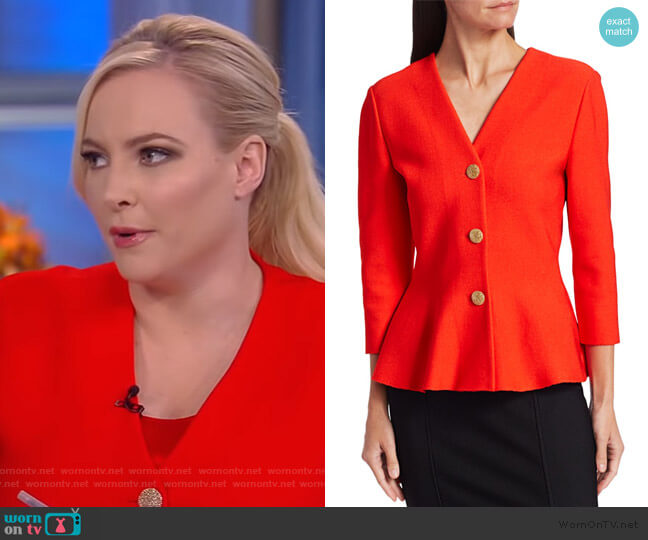 Sculptural Milano Knit V-Neck Peplum Jacket by St. John worn by Meghan McCain  on The View