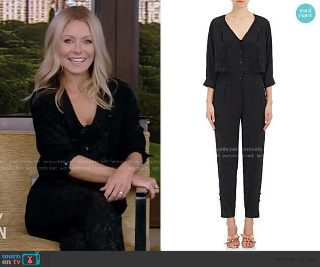 Saint Phalle Jacquard Silk Jumpsuit by Maison Mayle worn by Kelly Ripa  on Live with Kelly & Ryan