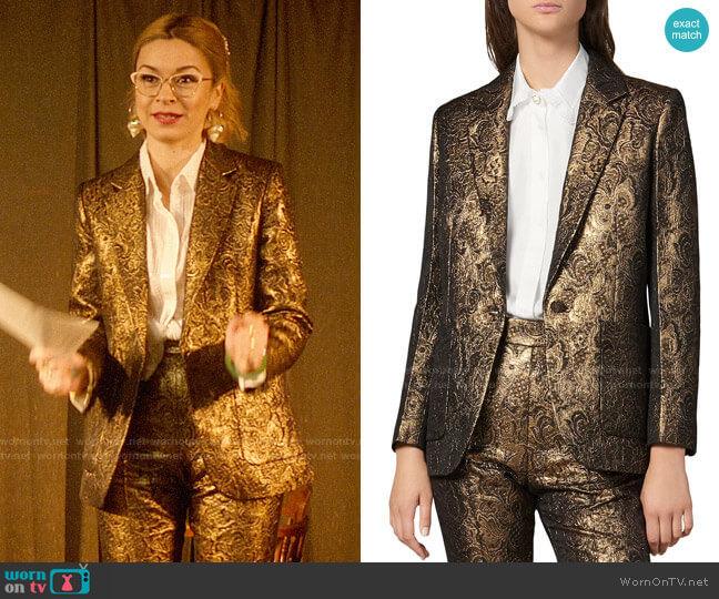 Sandro Floral Brocade Notch Lapel Blazer worn by Pepper Smith (Julia Chan) on Katy Keene