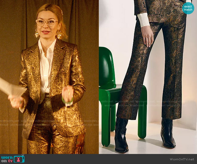 Sandro Goldy Brocade Cropped Pants worn by Pepper Smith (Julia Chan) on Katy Keene
