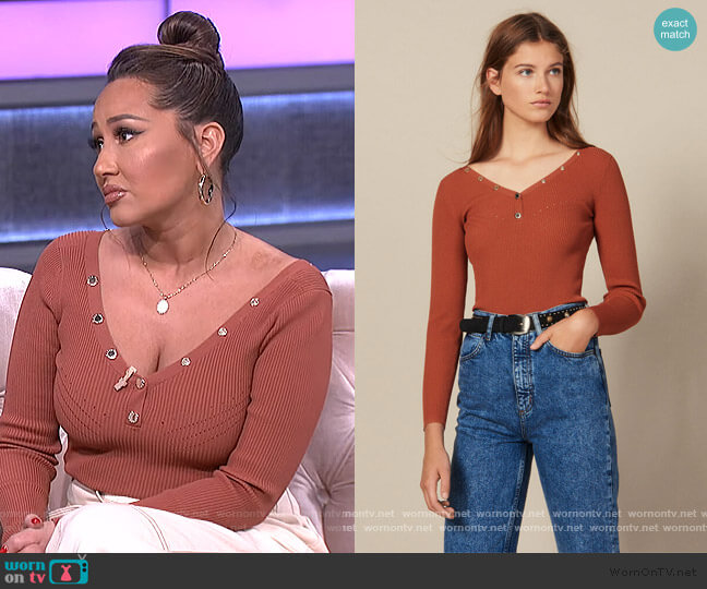Sweater trimmed with Branded Press Studds by Sandro worn by Adrienne Houghton  on The Real