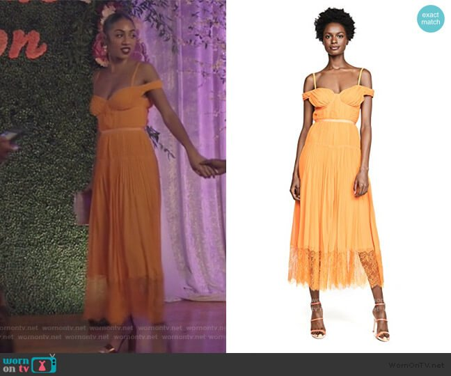 Orange Off Shoulder Pleated Chiffon Dress by Self Portrait worn by Patience (Chelsea Tavares) on All American