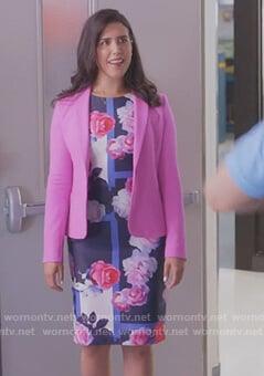 Shannon's blue floral sheath dress on Kims Convenience