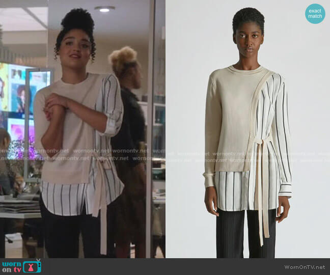 Silk Cashmere Striped Wrap Sweater by Yigal Azrouel worn by Kat Edison (Aisha Dee) on The Bold Type