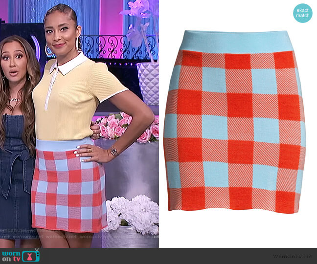 Sonoma Check Cotton Mini Skirt by Staud worn by Amanda Seales  on The Real