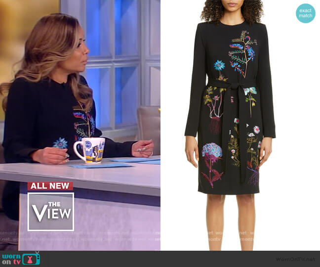 Floral Embroidered Long Sleeve Stretch Cady Dress by Stella McCartney worn by Sunny Hostin  on The View