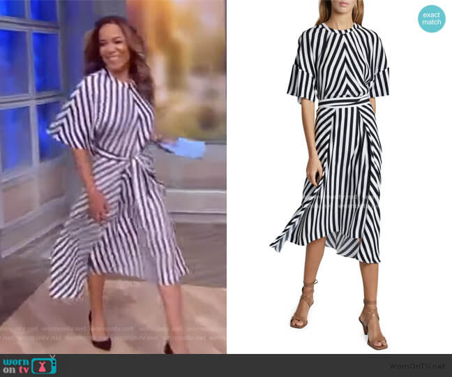 Striped Short-Sleeve Midi Dress with Belt by Stella McCartney worn by Sunny Hostin  on The View