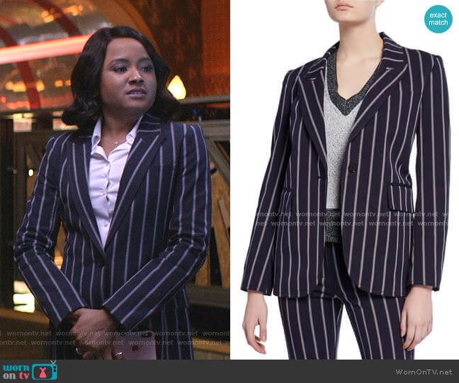Striped Stretch Blazer by Derek Lam 10 Crosby worn by Rhyon Nicole Brown on Empire