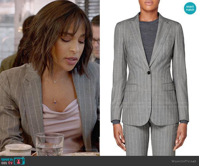 Suistudio Cameron Grey Pinstripe Jacket worn by Edie Palmer (Megalyn Echikunwoke) on Almost Family