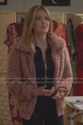 Sutton's pink teddy jacket on The Bold Type